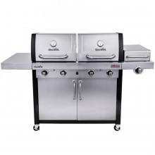 Char-Broil Tru-Infrared Double Header Stainless/Black 4-Burner Liquid Propane and Natural Infrared Gas Grill with 1 Side Burner